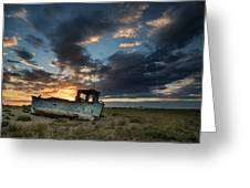 Fishing Boat Sunset Greeting Card by Matthew Gibson