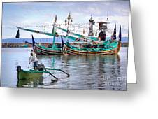 Fishing Boats In Bali Greeting Card by Louise Heusinkveld