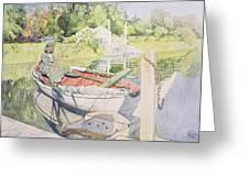 Fishing Greeting Card by Carl Larsson