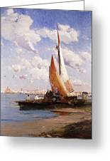 Fishing Craft With The Rivere Degli Schiavoni Venice Greeting Card by E Aubrey Hunt