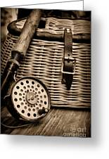 Fishing - Fly Fishing - Black And White Greeting Card by Paul Ward