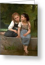 Fishing For Frogs Watercolor Version Greeting Card by William Bouguereau