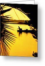 Fishing In Gold Greeting Card by Karen Wiles