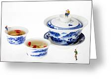Fishing On Tea Cups Little People On Food Series Greeting Card by Paul Ge