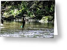 Fishing the Wissahickon Greeting Card by Bill Cannon