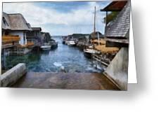 Fishtown Leland Michigan Greeting Card by Michelle Calkins