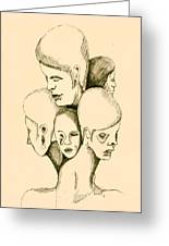 Five Headed Figure Greeting Card by Sam Sidders