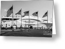 Five Us Flags Flying Proudly In Front Of The Megayacht Seafair - Miami - Florida - Black And White Greeting Card by Ian Monk