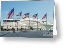 Five Us Flags Flying Proudly In Front Of The Megayacht Seafair - Miami - Florida Greeting Card by Ian Monk