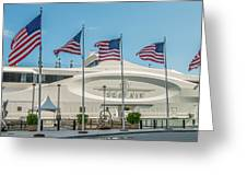 Five US Flags flying proudly in front of the megayacht Seafair - Miami - Florida - Panoramic Greeting Card by Ian Monk