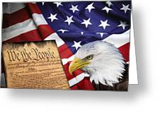 FLAG CONSTITUTION EAGLE Greeting Card by Daniel Hagerman