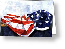 Flag In  The Window Greeting Card by Suzy Pal Powell
