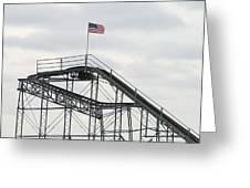 Flag Mounted On Seaside Heights Roller Coaster Greeting Card by Melinda Saminski