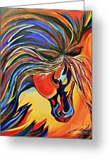 Flame Bold And Colorful War Horse Greeting Card by Janice Rae Pariza