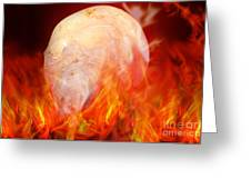 Flaming Crystal Skull Greeting Card by Terri  Waters