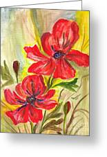 Flaming Garden Flowers Greeting Card by Clementine Kondracki