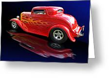 Flaming Roadster Greeting Card by Gill Billington