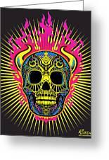 Flaming Skull Greeting Card by Tony Rubino