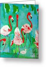 Flamingos 1 Greeting Card by Vicky Tarcau