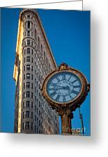 Flatiron Clock Greeting Card by Inge Johnsson
