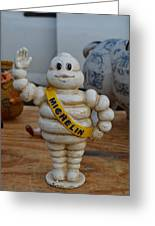 Flea Market Michelin Man Greeting Card by Helene Dignard