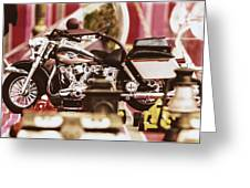 Flea Market Series - Motorcycle Greeting Card by Marco Oliveira