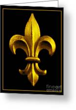 Fleur De Lis In Black And Gold Greeting Card by Carol Groenen