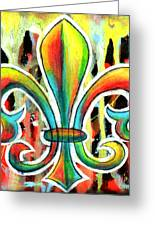 Fleur De Lis In Flames Greeting Card by Genevieve Esson