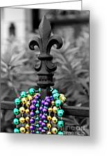 Fleur De Lis With Beads Greeting Card by Candace Cargo