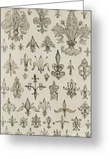 Fleur De Lys Designs From Every Age And From All Around The World Greeting Card by Jean Francois Albanis de Beaumont