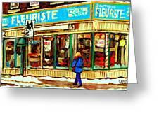 Fleuriste Notre Dame Flower Shop Paintings Carole Spandau Winter Scenes Greeting Card by Carole Spandau