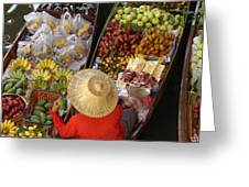 Floating Market Greeting Card by Christian Heeb