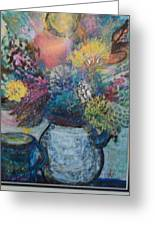 Floral Fantasy With Vase And Cup Greeting Card by Anne-Elizabeth Whiteway