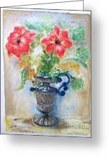 Floral In Urn Greeting Card by Barbara Anna Knauf