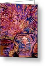 Floral With Gold Leaf On Vase Greeting Card by Anne-Elizabeth Whiteway