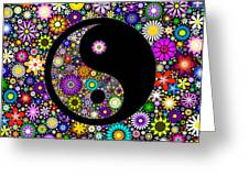 Floral Yin Yang Greeting Card by Tim Gainey