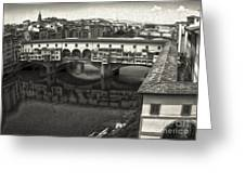 Florence Italy - Ponte Vecchio In Sepia Greeting Card by Gregory Dyer