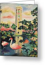 Florida Flamingo's Greeting Card by Suzanne  Marie Leclair