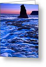 Flow - Dramatic Sunset View Of A Sea Stack In Davenport Beach Santa Cruz. Greeting Card by Jamie Pham