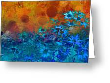 Flower Fantasy In Blue And Orange  Greeting Card by Ann Powell