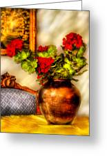 Flower - Geraniums On A Table  Greeting Card by Mike Savad