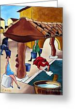 Flower Girl And Tile Roof Greeting Card by William Cain