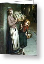 Flower Girls A Summer Night Greeting Card by Augustus Edwin Mulready