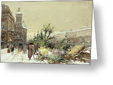Flower Market Marche aux Fleurs Greeting Card by Eugene Galien-Laloue