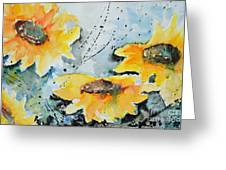 Flower Power- Floral Painting Greeting Card by Ismeta Gruenwald
