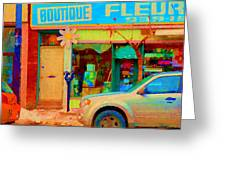 Flower Shop St Henri Boutique Fleuriste Window Notre Dame Ouest Montreal City Scene Carole Spandau Greeting Card by Carole Spandau