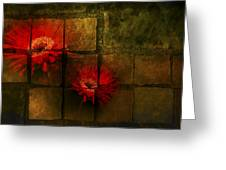 Flower Tiles Greeting Card by Michael Huddleston