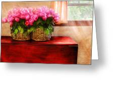 Flower - Tulips by a Window Greeting Card by Mike Savad