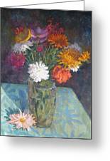 Flowers And Glass Greeting Card by Terry Perham