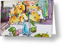 Flowers and Green Apples Greeting Card by Becky Kim